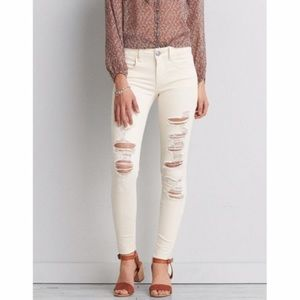 American Eagle Ivory Destroyed Jegging Jeans Sz 0